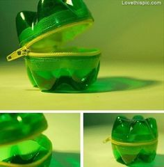 instead of two bottoms maybe use a top and glue the lid on and cut a hole big enough to put change through.  soda bottle bag diy crafts easy crafts crafty easy diy diy recycle diy striage craft storage