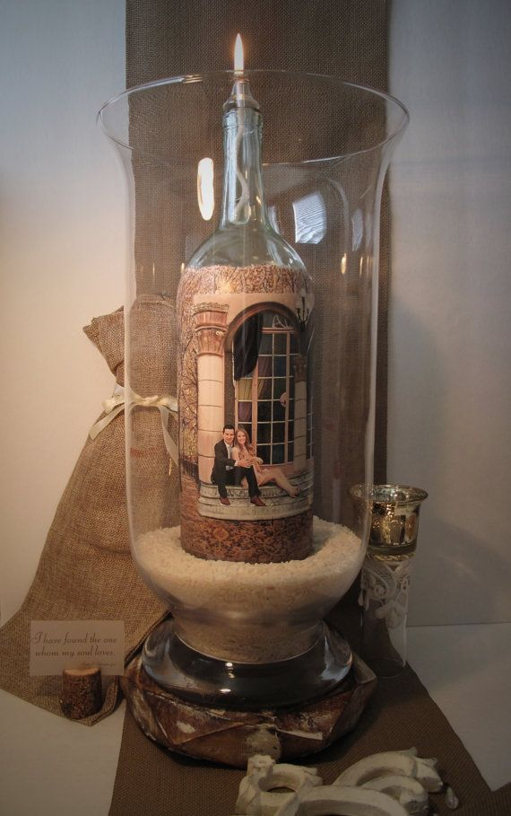Hand Painted Wine Bottle Candle With Your Photo by YTBCreations
