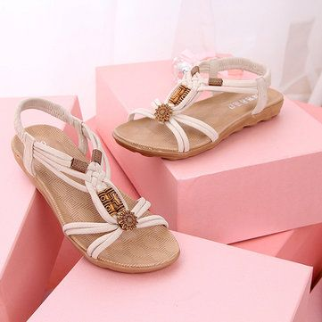 Women Flats Sandals Comfortable Casual Fashion Soft Slip On Beach Sandals Shoes - US$15.72