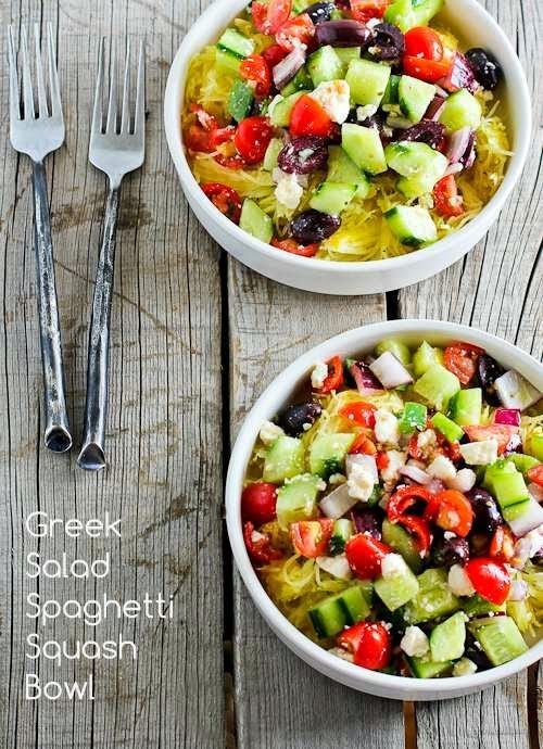 Recipe for Greek Salad Spaghetti Squash Bowl; what makes this so delicious is the way the lemony Greek dressing drips down and flavors the squash!  [from Kalyn's Kitchen] #MeatlessMonday  #LowGlycemic