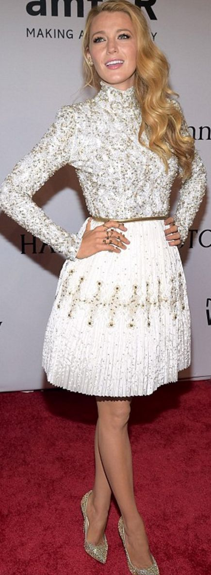 Who made Blake Lively's white long sleeve dress and crystal pumps?