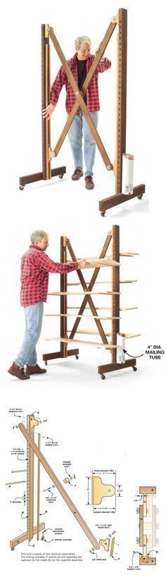 Expandable Parts Rack   http://www.popularwoodworking.com/projects/aw-extra-small-shop-solutions #WoodworkingTools
