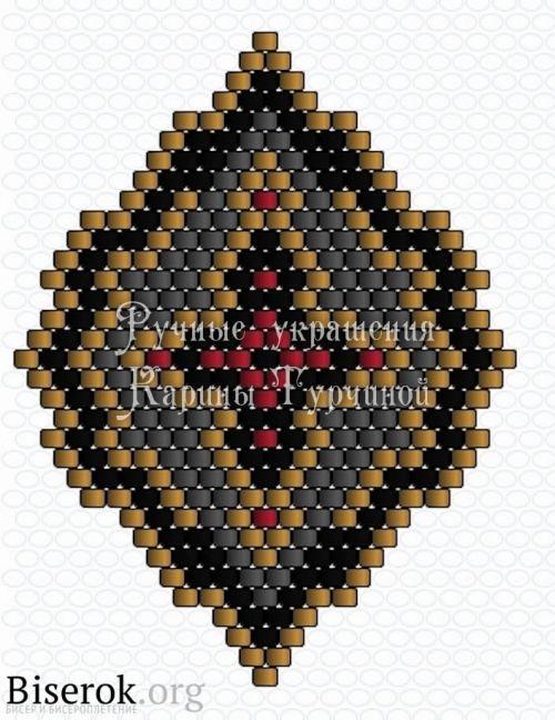 orecchini perline con lo schema di croci, la tessitura di mattoni, mattoni schema