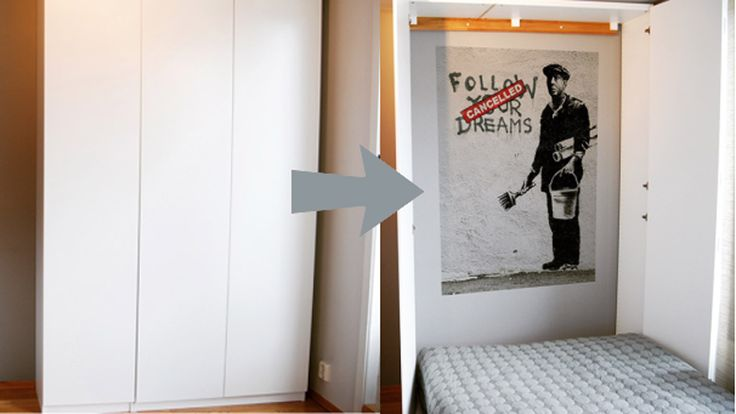 A Murphy bed helps you save space: Pull it down when you need it, back up when you want to use the room for another purpose. Murphy beds are expensive, though. Make one yourself with IKEA cabinets.