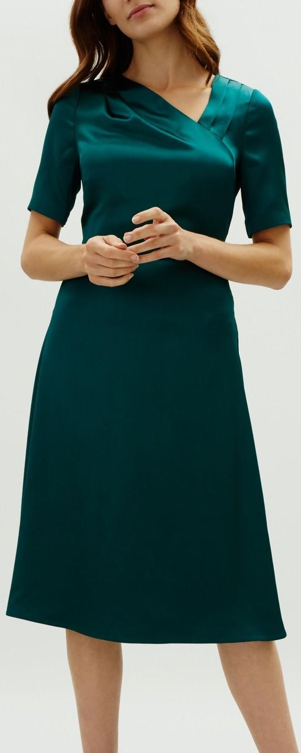 Satin Dress For Winter Wedding Guest Outfits Dark Green Satin Dress Winter Wedding Mother Of The Wedding Guest Outfit Winter Bride Clothes Green Wedding Suit [ 1499 x 600 Pixel ]