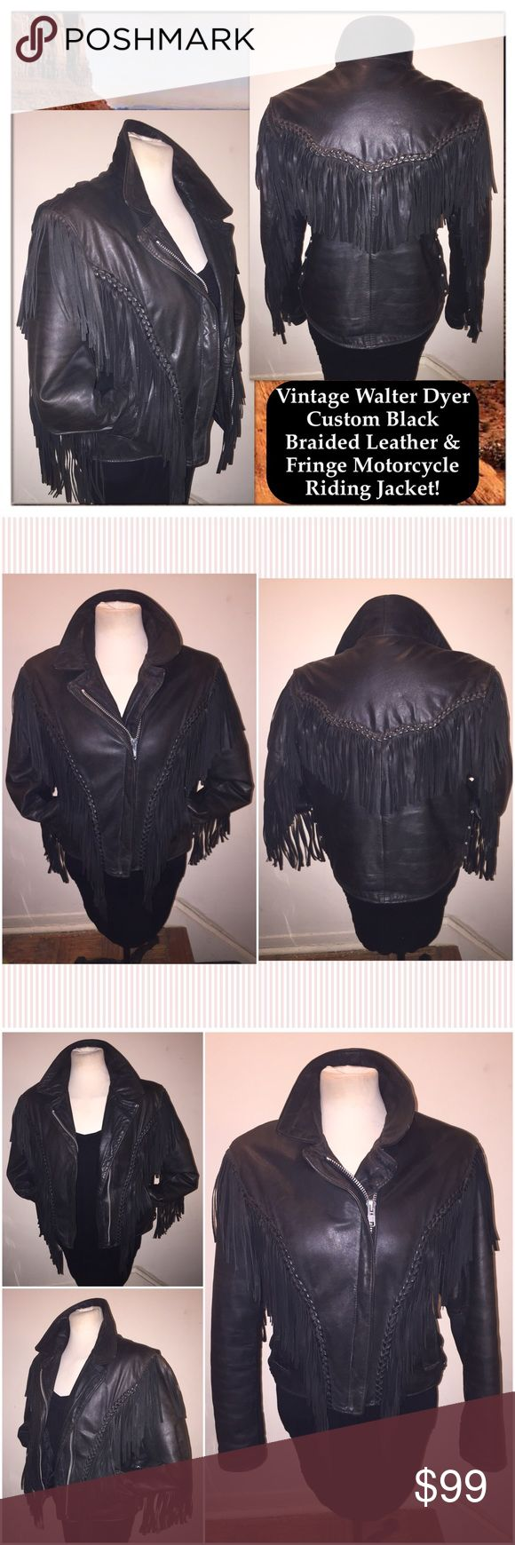 """VTG Walter Dyer Custom Braid Leather Fringe Jacket Vintage Walter Dyer Custom Black Braided Leather & Fringe Motorcycle Riding Jacket! Custom piece by Walter Dyer, braided leather, full fringe trim on front, back & down sleeves design, front zip, zip sleeve cuffs, front pockets. Sz S (ladies) Chest: 22"""" across, Shoulder: 27 1/2"""" across, Sleeve: 30""""  (side of neck to sleeve end), Pit to sleeve end: 17"""", Waist: 40"""" around, Back length: 22 1/2"""". Original side leather lace ties were replaced…"""