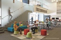 Fun, #comfy and colourful workspace at school #lounge