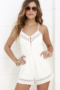 From the golden plains to purple mountain majesties, everyone's raving about the American Honey Ivory Lace Romper! Adjustable spaghetti straps top a woven, floral lace bodice with button placket. Elastic at the back and waist offers a custom fit above loose shorts with lace trim.
