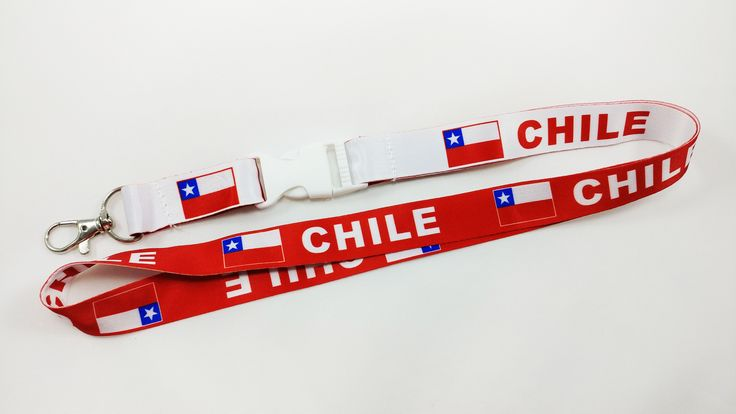Chile flag reversible red/white lanyard