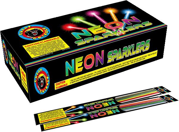 "Neon Sparklers 20"" - North Central Industries - www.greatgrizzly.com - MUNCIE INDIANA WHOLESALE FIREWORKS •Category: Sparklers •Item Number: 1024 •Package Contents: 48-4 Brand Name: Megabanger"