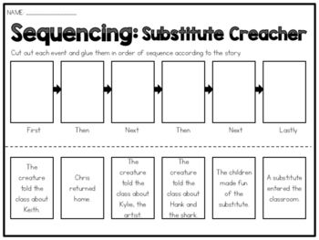 This sequencing worksheet goes along with the book; SUBSTITUTE CREATURE by Chris Gall. This sheet can be used in centers, to reinforce or assess the skill, or just to the accompany the book. The sheet has 6 events from the story that need to be cut apart and put in the correct order within the diagram. Enjoy and check out the rest of my sequencing worksheets!