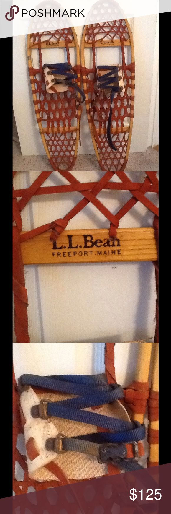 LL BEAN FREEPORT MAINE VINTAGE WOOD SNOW SHOES LL Bean Freeport Maine vintage wood snow shoes.  Sz 10 X 36.  Great condition with exception to one clamp on right shoe is rusty.  I have not tried to clean the clamp.  Great collectible snow shoes, just in time for skiing!  Check out my other designer items LL Bean Shoes Winter & Rain Boots