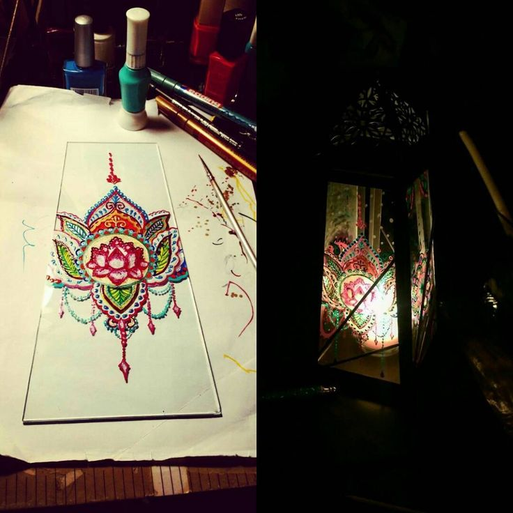and my last one...my best one... my favorite one.... Love it!!!!! #workinprogress _ decorating my new lamp _ #drawing #mandala #colors #inspiration #indianinfluence #lovecreating