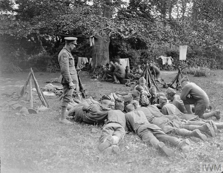 Men of the 77th American Division during their month's intensive training with the British 39th Division. Near Moulle, 22 May 1918