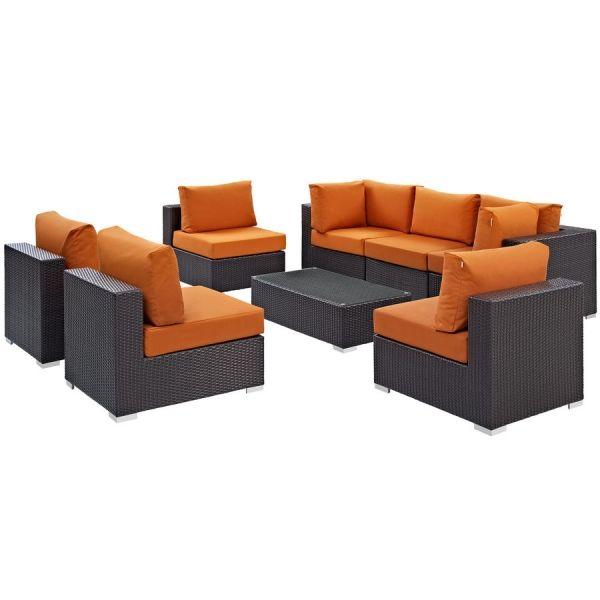 Convene Espresso Orange Fabric Rattan Glass 8pc Outdoor Sofa Set