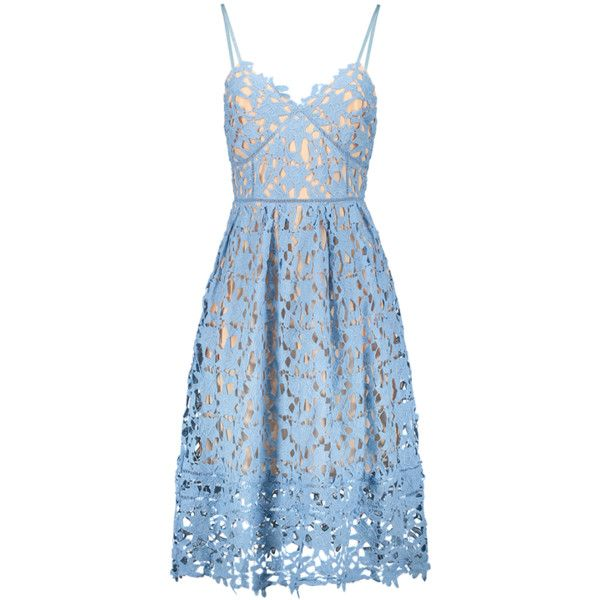 Cami Crochet Flower Midi Dress Azure ($46) ❤ liked on Polyvore featuring dresses, blue camisole, calf length dresses, midi dress, camisole dress and crochet midi dress