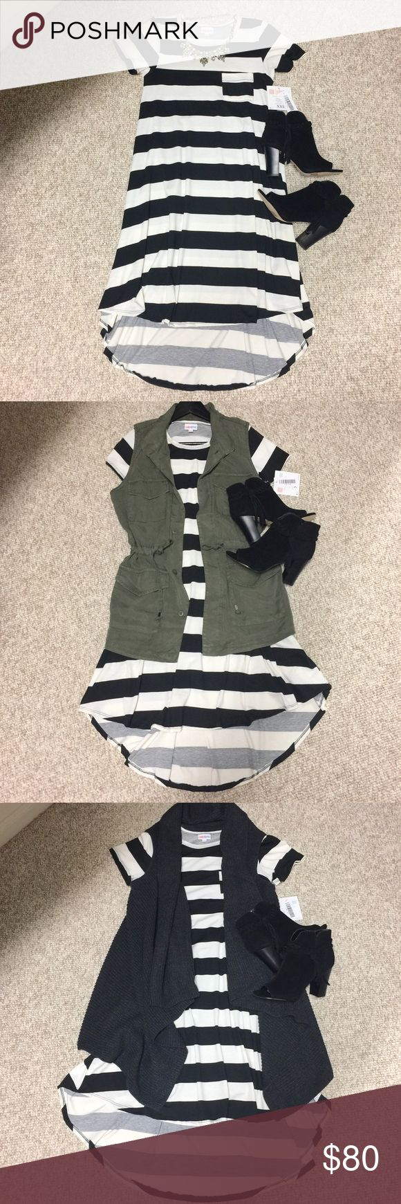 NWT Lularoe Black & White Stripe Carly Dress XXS This is a super adorable NWT Lularoe Carly Dress. It is black and white/cream stripe. Size XXS. This is a hard to find piece and a must have for year around. So cute!!!  Throw on a pair of black leggings or tights for the colder months and during the warmer months, flip flops or black wedges. Such a versatile dress. Comes from a smoke free and pet free home. No trades and price is firm as Posh takes their cut too. Thank you for looking and…