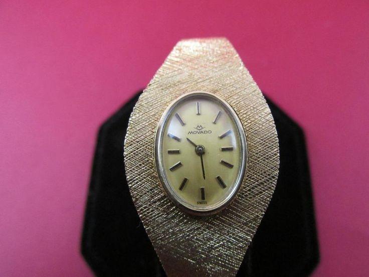 Vintage Retro 14k Solid Gold 17 Jewel Triple Signed Movado Ladies Watch 29g #VintageRetroMovadoWatch #VintageRetro14kSolidGoldWatchBracelet