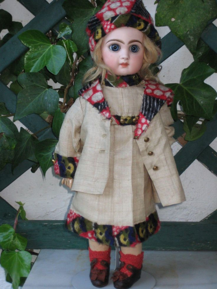 original factory made by SFBJ-JUMEAU -silk DRESS FOR AROUND 13 inch from beautiful-antique-dolls on Ruby Lane