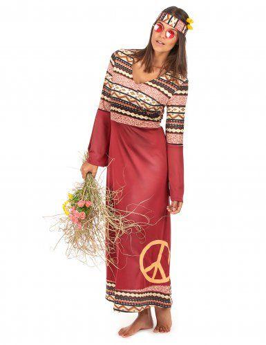 Bordeaux rood hippie kostuum voor vrouwen-1