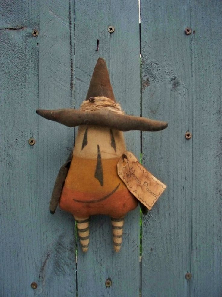 Primitive CANDY CORN WITCH Halloween ORNAMENT Doll #NaivePrimitive