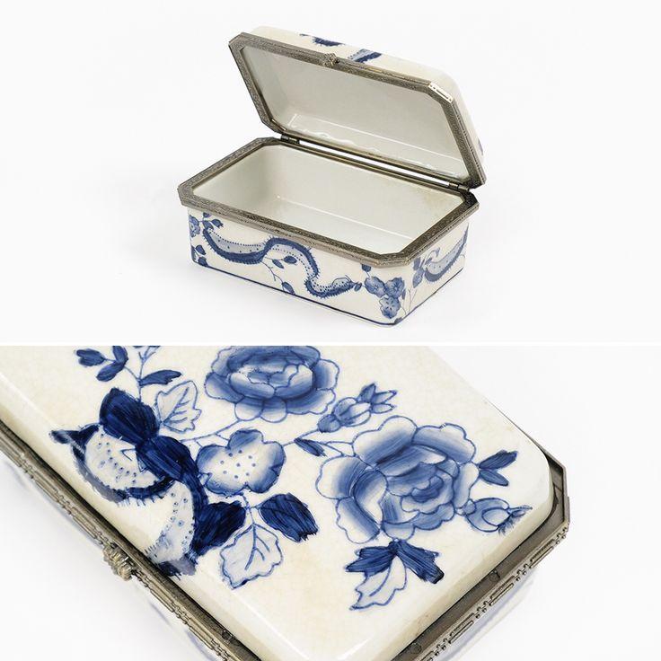 Caixa Craclé Azul e Branco 14 x 10 cm   A Loja do Gato Preto   #alojadogatopreto   #shoponline   referência 114368727
