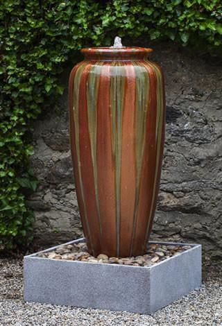 Catinat Ceramic Terra Cotta Outdoor Jar Fountain with Round Basin