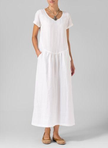 Linen Short Sleeve Dress Soft White
