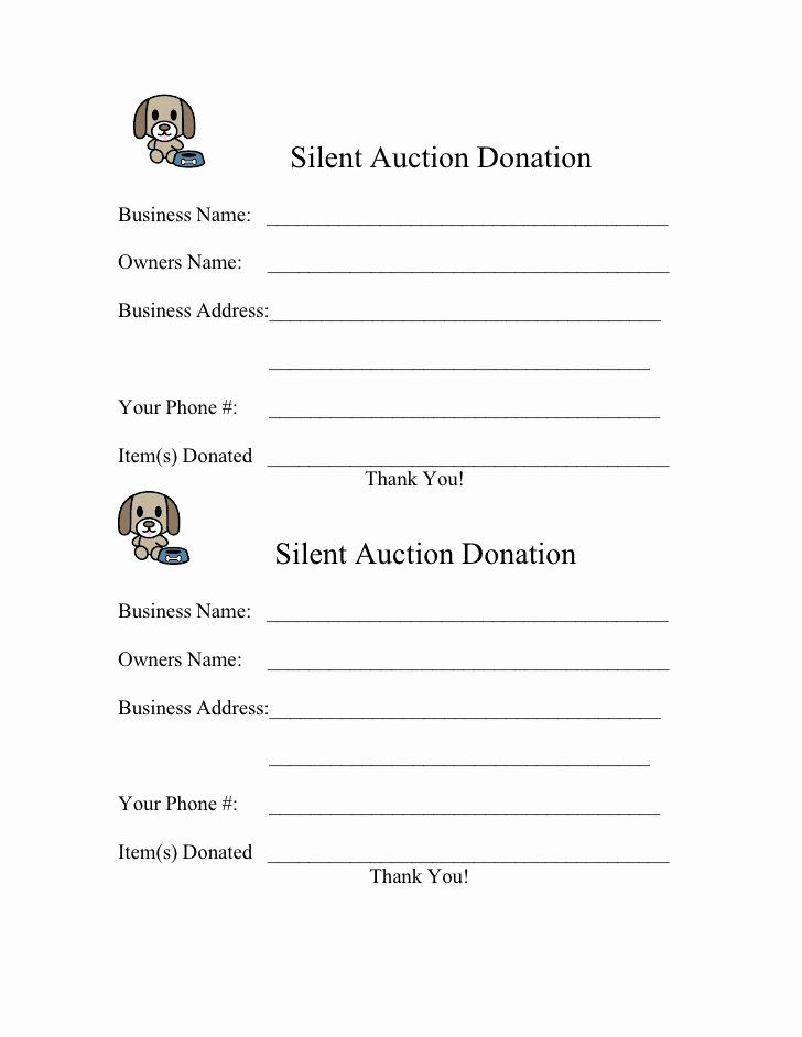 Silent Auction Forms Lovely Form For 2009 Silent Auction Donation Silent Auction Donations Auction Donations Silent Auction