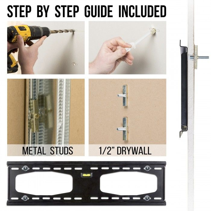 Condomounts Metal Stud Tv Wall Mounting Kit Heavy Duty Wall Mounting Without Studs Or Through Metal Steel Studs Leslievi Wall Mounted Tv Tv Wall Stud Walls