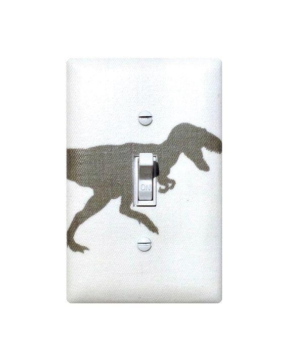 Dinosaur Light Switch Plate / T Rex Gray Baby Boy Nursery / Boys Room / Storm Grey White Premier Prints / Gender Neutral