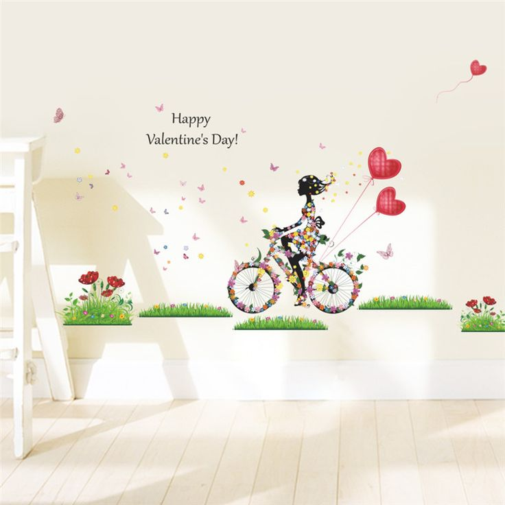 new arrival happy Valentine's Day wall stickers girls on bicycle colorful balloon flower living bedroom wall decals diy posters