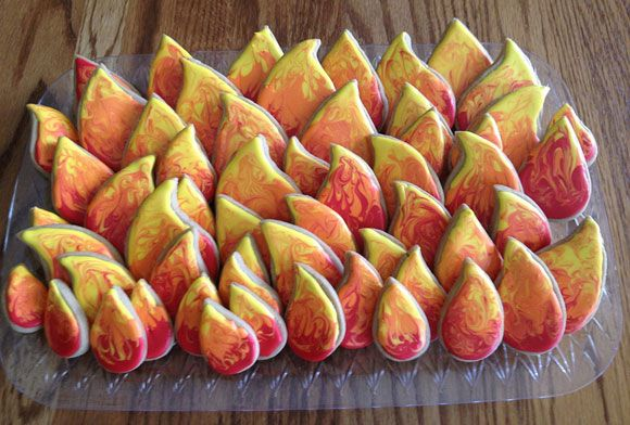 """Guests will surround these """"Catching Fire"""" cookies like an inferno."""