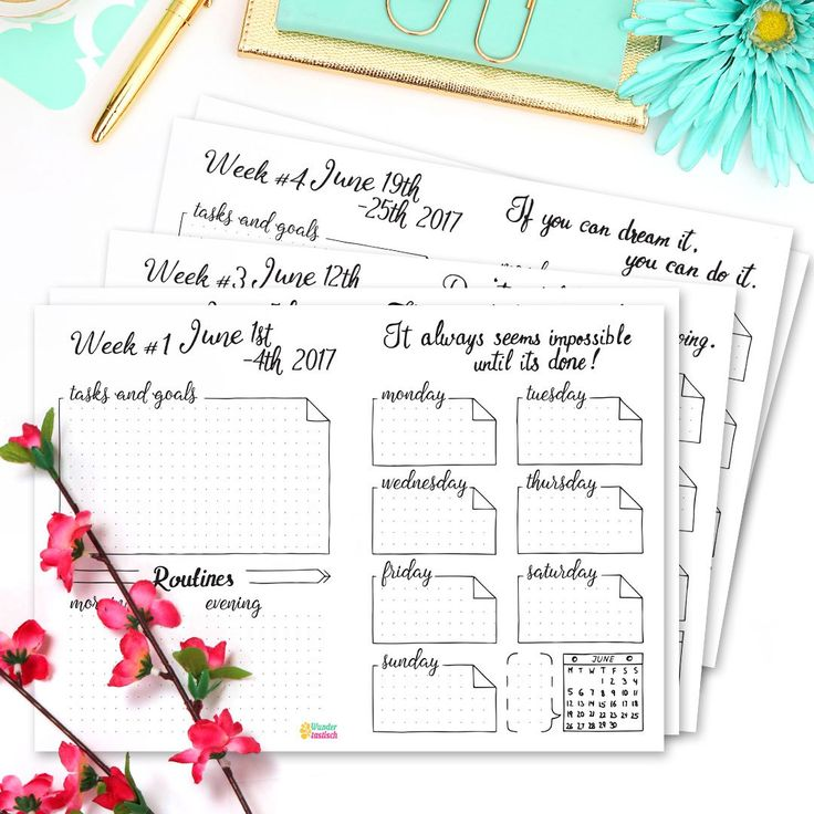 June Weekly Spreads • 15 Pages Strong Bullet Journal Printable Kit • June 2017. Including Habit Tracker, Monthly Log and many more beautiful pages. // by Wundertastisch Design