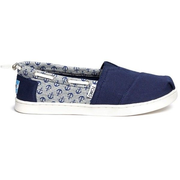 Toms Youth Bimini anchor print canvas kids slip-ons ($40) ❤ liked on Polyvore featuring shoes, blue, blue canvas shoes, blue platform shoes, blue shoes, canvas footwear and slip-on shoes