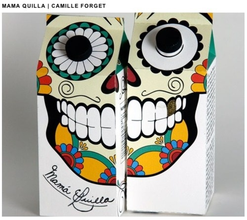 El Dia de los Muertosis what inspired Camille Forget, a packaging student, in the creation of this packaging for cane sugar. The name of the product is call Mama Quilla.