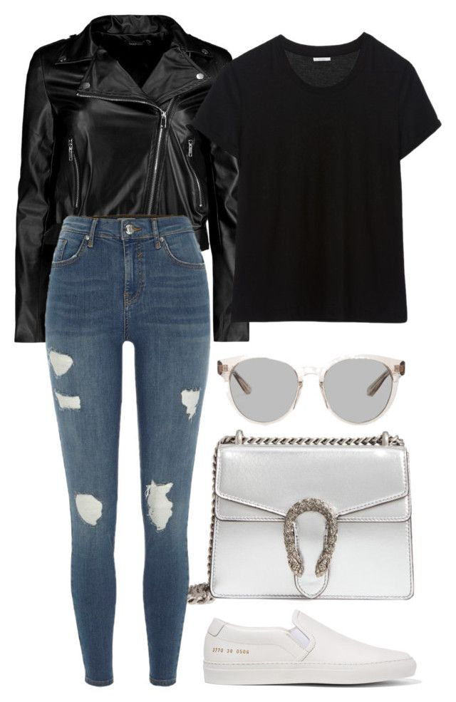 """#98"" by mintgreenb on Polyvore featuring Boohoo, Gucci, River Island, Common Projects and Yves Saint Laurent"