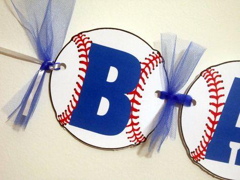 Baseball Banner - Baseball Baby Shower Banner - Baseball Birthday Banner by CraftyCue on Etsy https://www.etsy.com/listing/209206133/baseball-banner-baseball-baby-shower