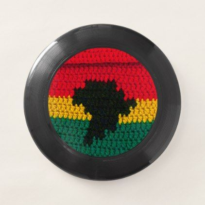 Ghana Colors Africa Map Texture Crochet Print on Wham-O Frisbee - outdoor gifts unique cyo personalize
