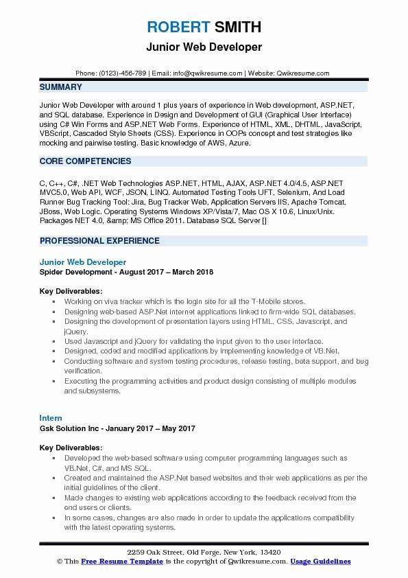 Web Developer Resume Sample Beautiful Junior Web Developer Resume Samples In 2020 Web Developer Resume Web Development Retail Resume Examples