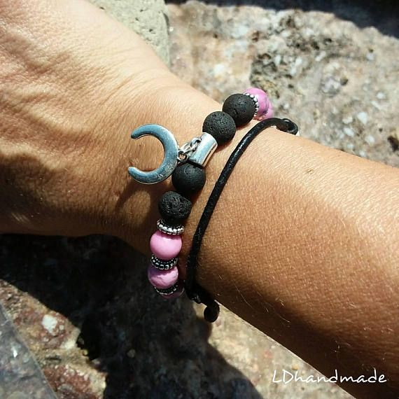 Check out this item in my Etsy shop https://www.etsy.com/listing/548794317/beaded-bracelet-black-lava-08mm-and-pink