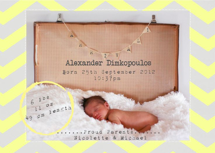 Baby Arrival/Announcement Cards   'Chevron'  Designed by Paper and Style Co. Photography by Mandy Rodrigues Photography