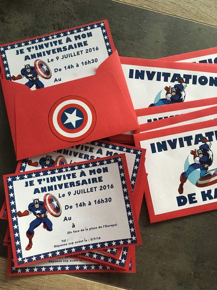 Carte invitation anniversaire Captain America