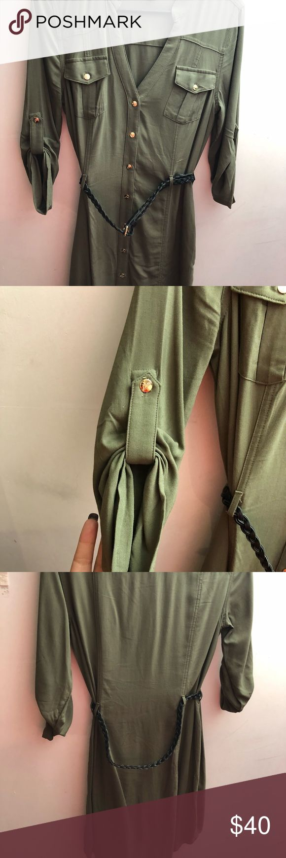 Button down guess dress with belt Really cute silk like material with brown belt Worn once Olive green color Guess Dresses Midi
