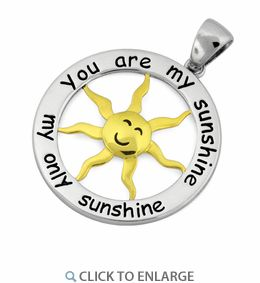 Sterling Silver Two Tone 25mm You Are My Sunshine #Pendant * $13.03