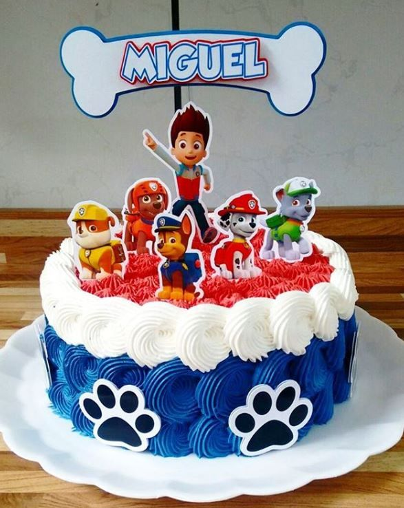 Amazing Paw Patrol Birthday Party Free Printable Cake Toppers Com Personalised Birthday Cards Cominlily Jamesorg