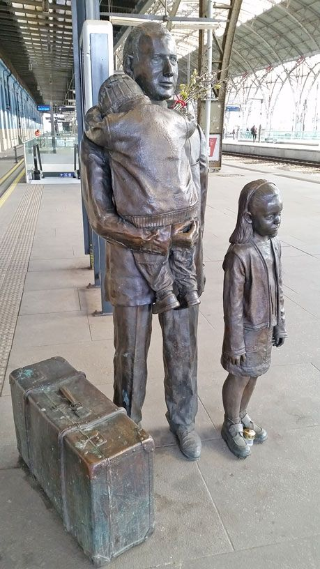 The monument on Platform one of the main train station dedicated to Nicholas Winton and his efforts to evacuate Czech children before WW2.