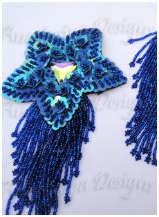 Blue Applique bead sequin Belly Dance costume
