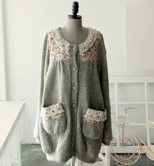 Mori girl style cardigan - love the trimmings 森ガール