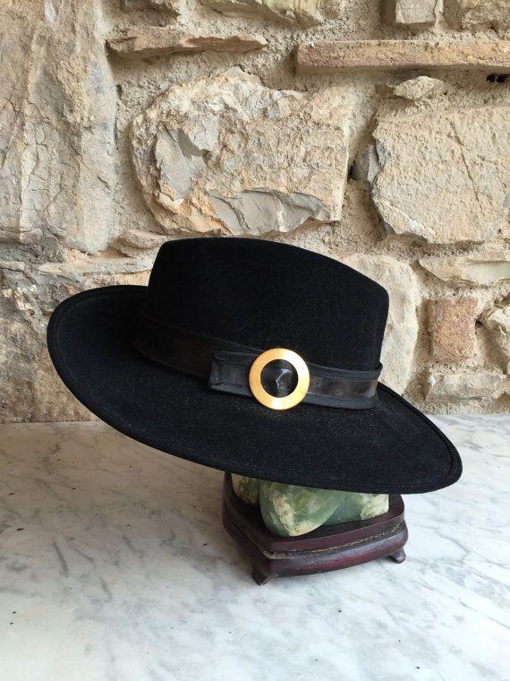 RARE GALLIA PETER Black Hat / Black Vintage Hat Gallia Peter /  Made in Italy Black Hat / Gallia e Peter Hat / Rare Vintage Hat